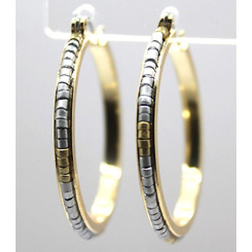 Silver & Gold Seed Bead Gold Hoop Earrings