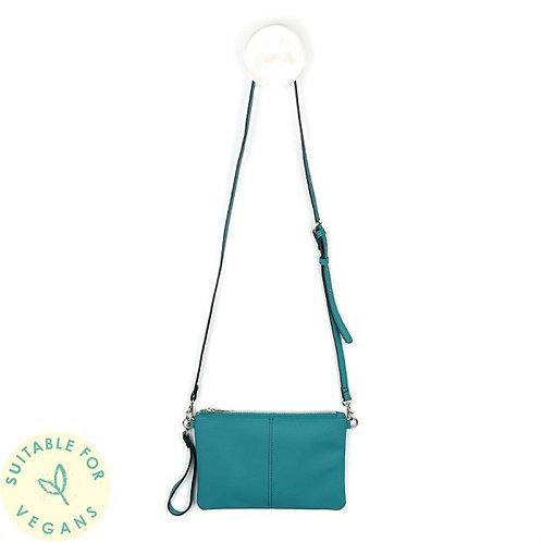 Vegan Leather Teal Convertible Clutch Bag