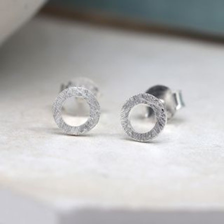 Tiny sterling silver scratched circle stud earrings