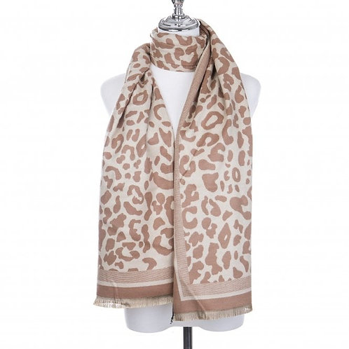 Taupe & Cream Animal Print Blanket Scarf