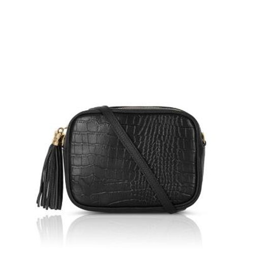 Black Mock Croc Crossbody Bag with Tassel
