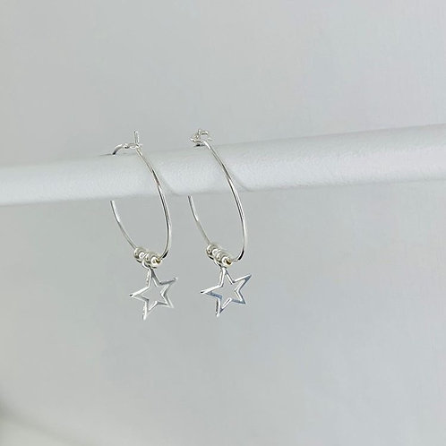 Silver Open Star & Silver Bead Earrings