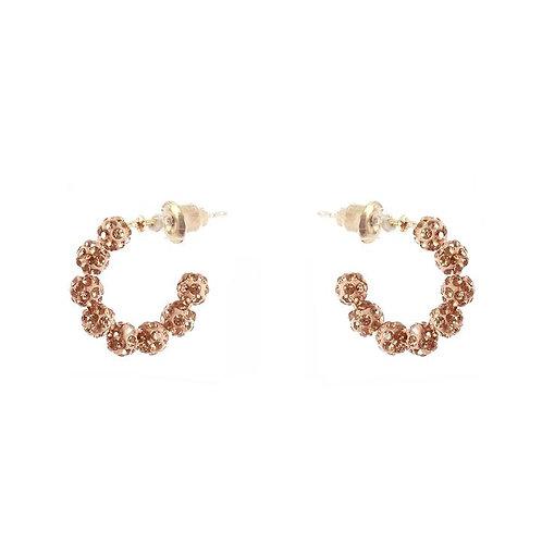 Rose Gold Delicate Rhinestone Hoop Earrings