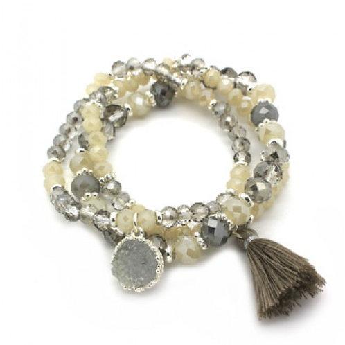 Grey & Ivory Beaded Bracelet Stack