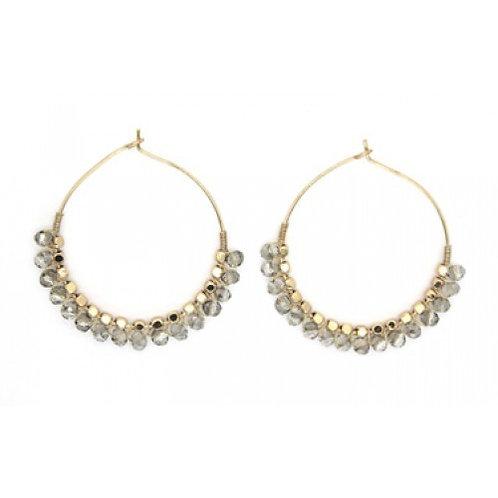 Grey Beaded Gold Hoop Earrings