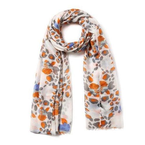 Orange Leopard Floral Scarf