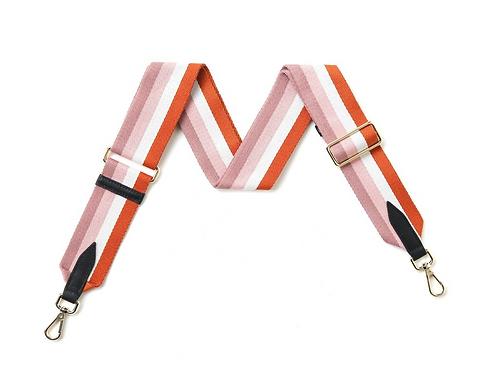 Pink & Tan Multi-Stripe Bag Strap