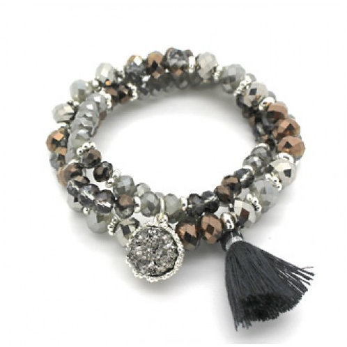 Charcoal Mix Beaded Bracelet Stack