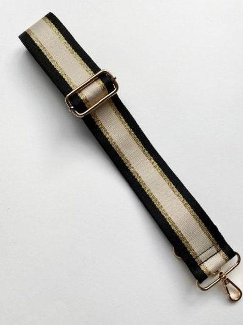 Black, Beige & Gold Stripe Bag Strap