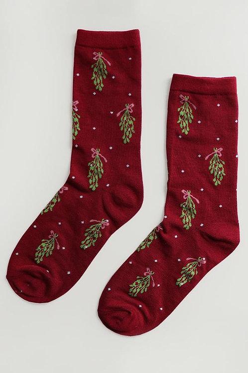 Burgundy Mistletoe Print Socks