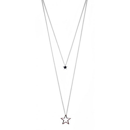 Silver Double Layered Star Long Necklace