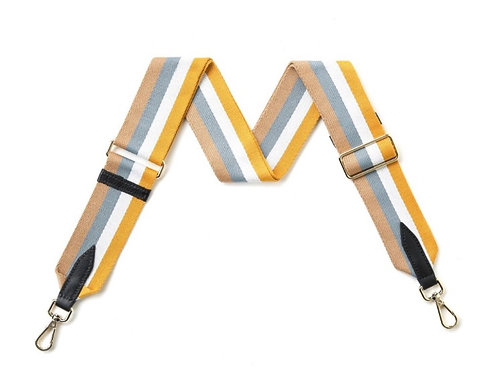 Yellow & Blue Mix Stripe Strap - Gold Hardware