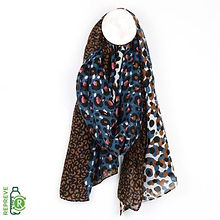 _d51550_3 Blue & Tan Leopard Print Scarf