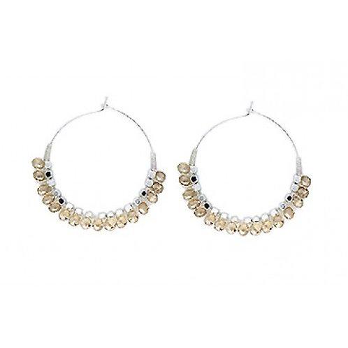 Champagne Beaded Silver Hoop Earrings