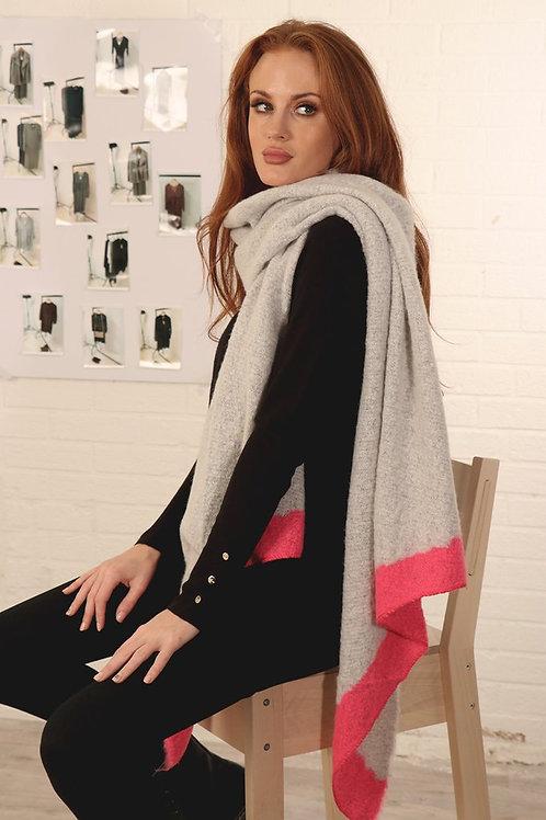 Grey & Bright Pink Blanket Scarf