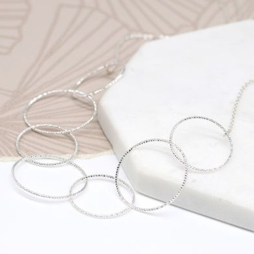 Silver Multi-Textured Hoop Necklace