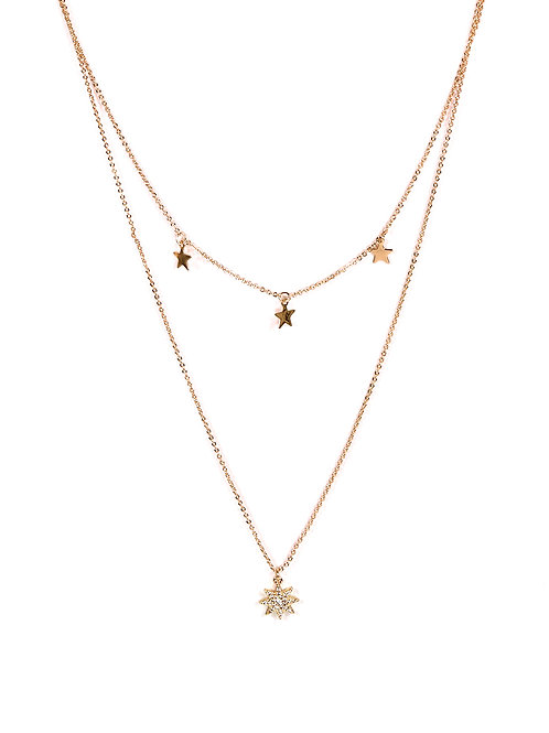 Sienna Row of Stars Rose Gold Necklace