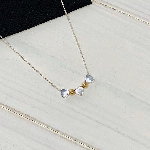 Silver & Gold Beaded Heart Necklace