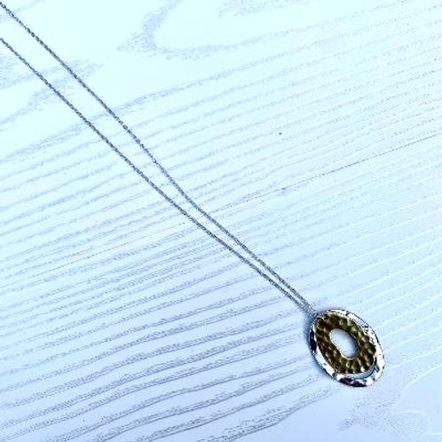 Silver & Gold Hammered Oval Necklace