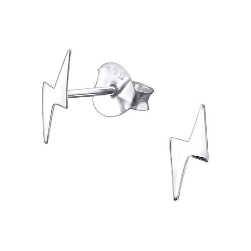 Silver Lightning Bolt Stud Earrings