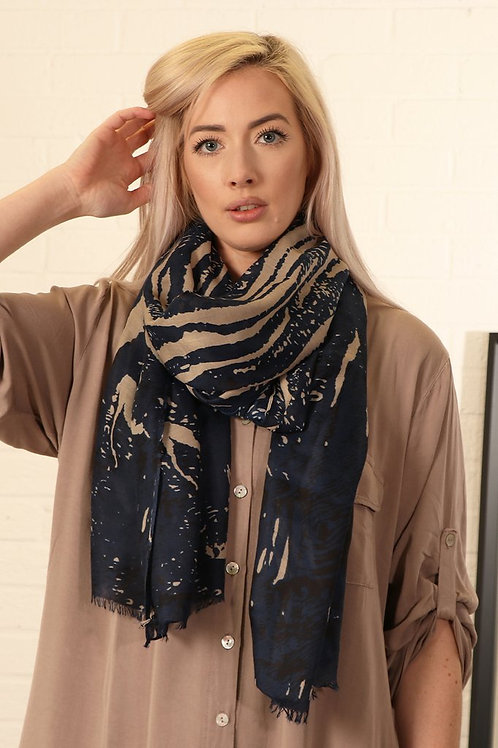 Navy & Taupe Mottled Scarf