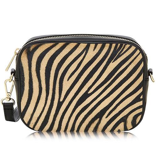 Tiger Print Pony Skin Cross Body Bag