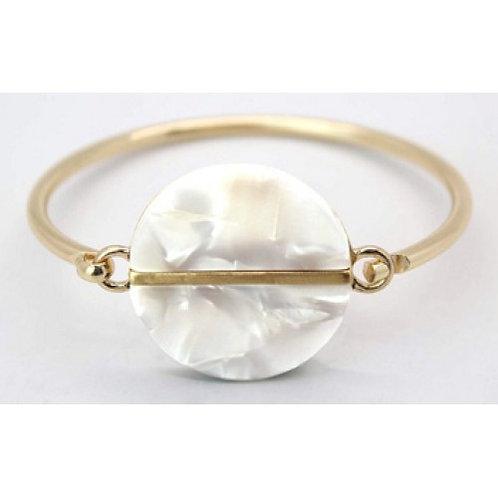 Ivory & Gold Tortoiseshell Resin Bangle