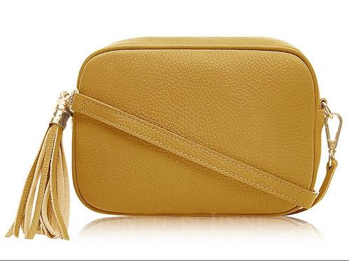Mustard Crossbody Bag with Tassel