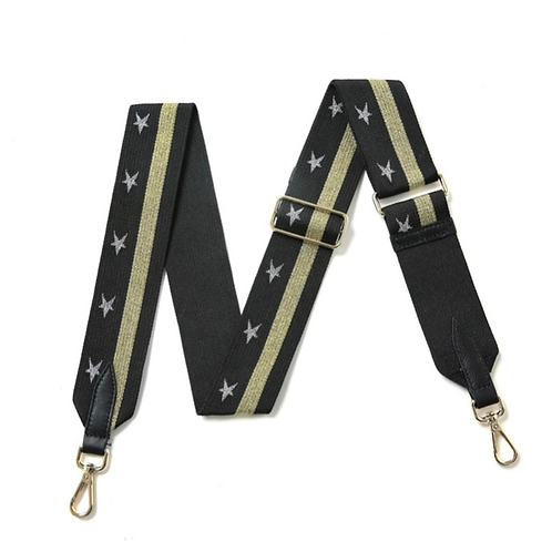 Black & Gold Stripe Strap with Gold Stars