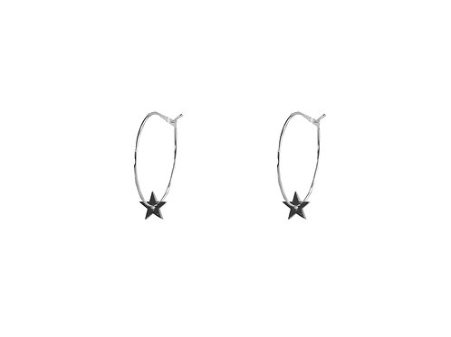 Estelle Silver Star Hoop Earrings