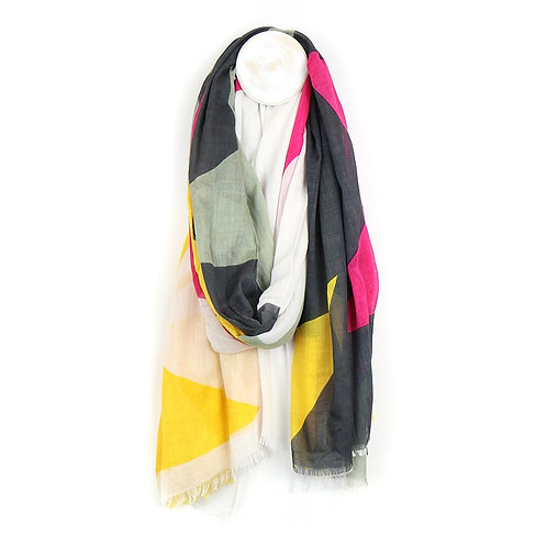 Pink, grey and yellow mix large star print scarf