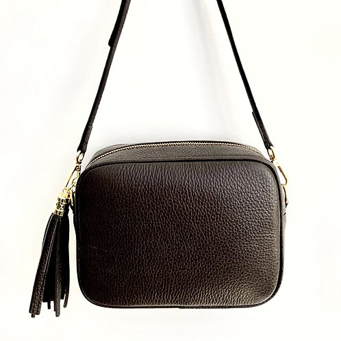 Dark Brown Crossbody Bag with Tassel