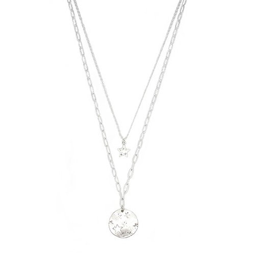 Silver Double Layered Star Disc Necklace