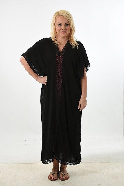 Long Black Lace Trim Kaftan