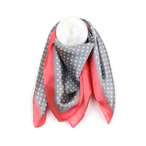 Grey Spot Square Scarf with Coral Pink Border