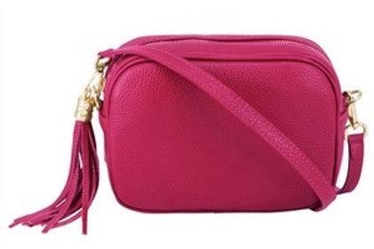 Bright Pink Cross Body Bag with Tassel