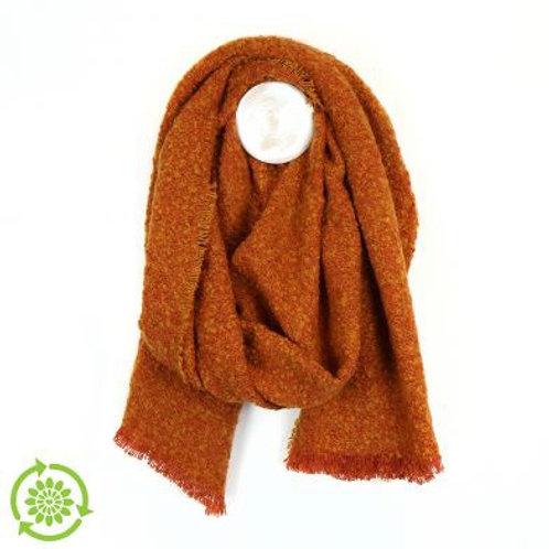 Orange Boucle Blanket Scarf