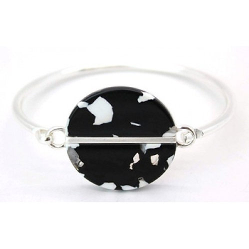 Black & White Tortoiseshell Resin Silver Bangle