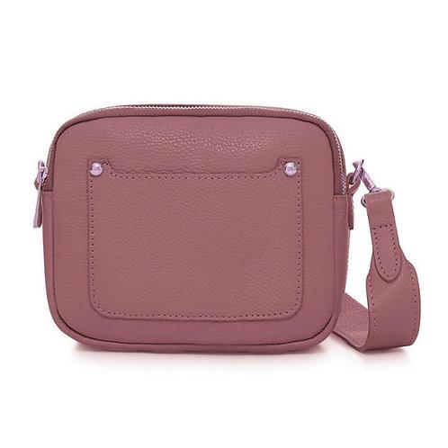 Dusky Pink Double Zip Crossbody Bag