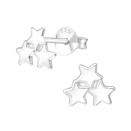 Silver Triple Star Stud Earrings
