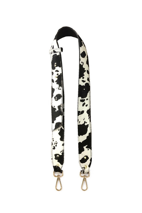 Cow Print Leather Bag Strap