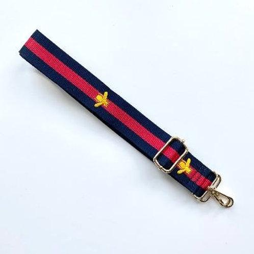 Navy & Red Stripe Bee Bag Strap
