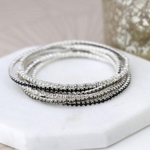 Black & Silver Crystal Multistrand Bracelet