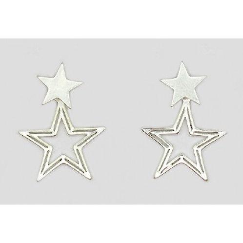 Silver Double Star Drop Earrings