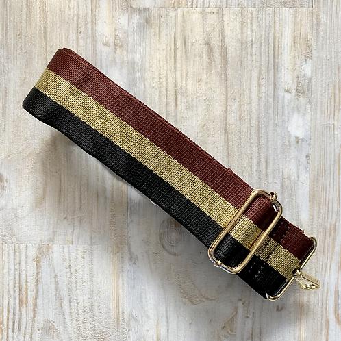 Burgundy Stripe Bag Strap - Gold Hardware