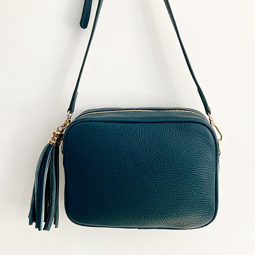 Dark Teal Crossbody Bag with Tassel
