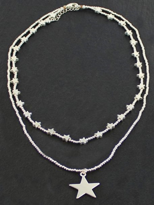 Silver Double Strand Star Necklace