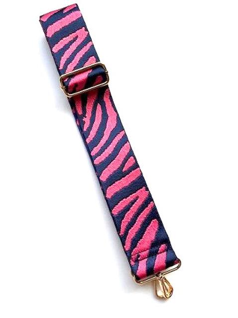 Navy & Fuschia Zebra Print Bag Strap