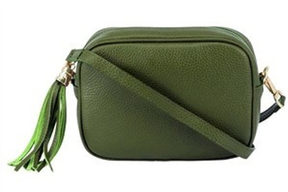 Khaki Cross Body Bag with Tassel