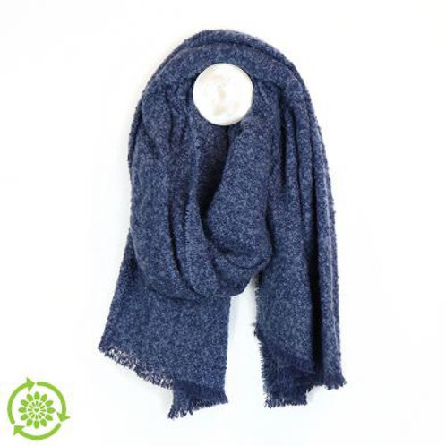 Blue Boucle Blanket Scarf